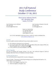 2011 Fall Pastoral Study Conference October 17-18, 2011
