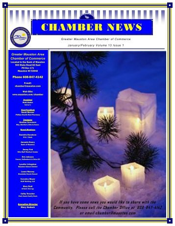 CHAMBER NEWS - Mauston Chamber of Commerce