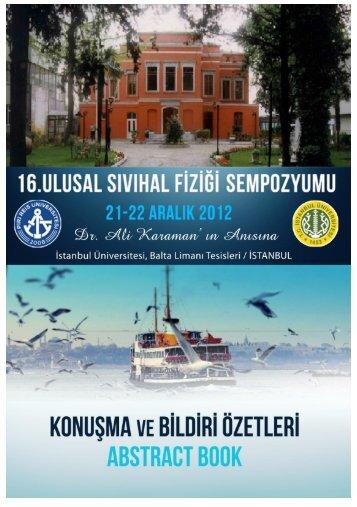 16.Ulusal Sıvıhal Fiziği Sempozyumu - Piri Reis Üniversitesi