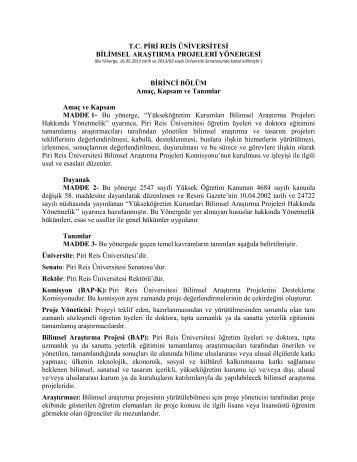 Bilimsel Araştırma Projeleri Yönergesi - Piri Reis Üniversitesi