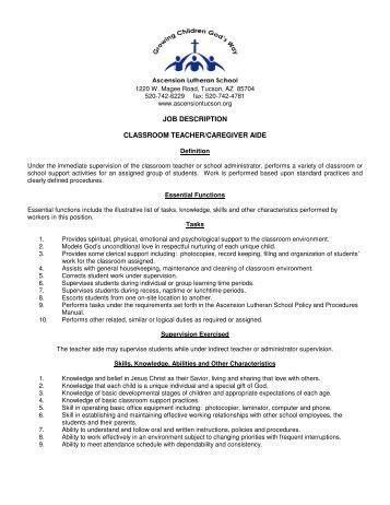 job description classroom teachercaregiver aide ascension teacher aides job description