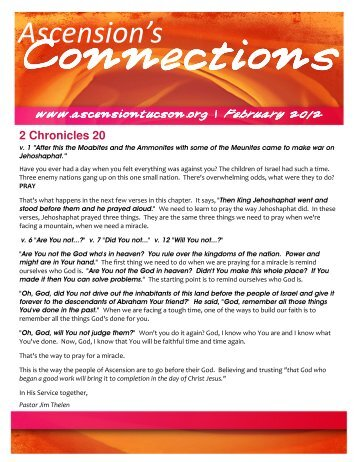 2012 FEBRUARY Newsletter - The Lutheran Church of the Ascension
