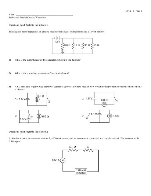 series and parallel circuits worksheet hopkinton school. Black Bedroom Furniture Sets. Home Design Ideas