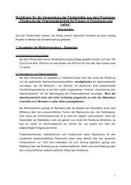 Richtlinien für die Verwendung der Fördermittel aus dem Programm ...