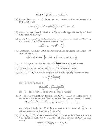 MA2222 Formula sheets for final exam.