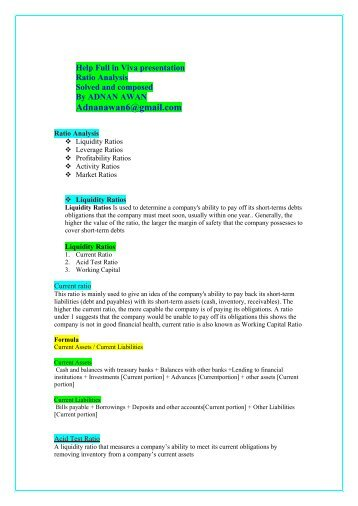 ratio analysis of sbi pdf