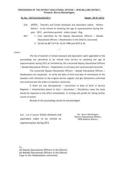 Present: Muvva Ramalingam  equivalent cadre to be     - Nellore