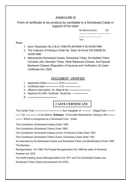 ANNEXURE B Form of certificate to be produce by candidate to a