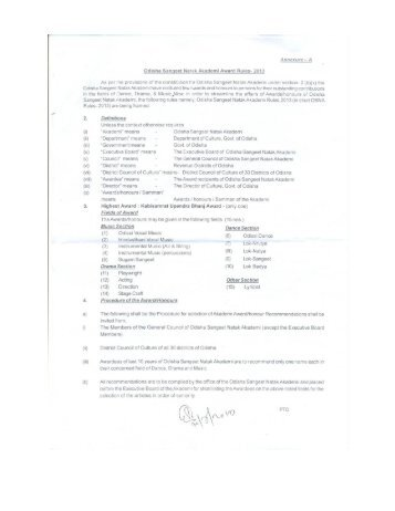 Odisha Sangeet Natak Akademi Award Rules-2013