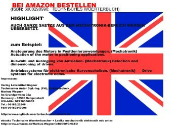 german-english terms refer to mechatronics robots (BEI AMAZON BESTELLEN