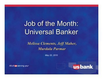 Universal Banker Job of the Month - US Bank