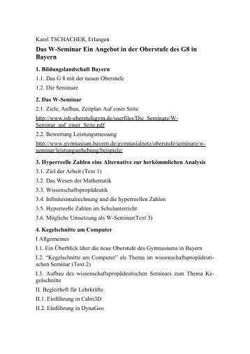 Das W Seminar Ein Angebot In Der Oberstufe Des G8 In Bayern