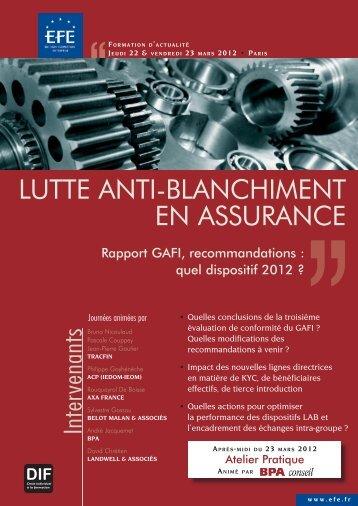 LUTTE ANTI-BLANCHIMENT EN ASSURANCE - Efe