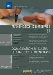 transmission d'entreprise domiciliation en suisse ... - Editions - Efe