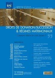 régimes matrimoniaux droits de donation/succession - Editions - Efe
