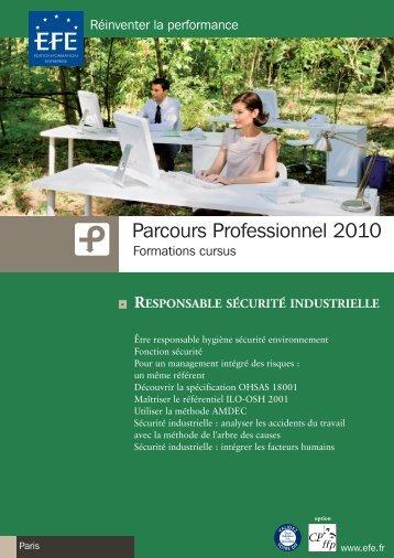 PARCOURS PROFESSIONNEL 2010 Responsable sécurité ... - Efe