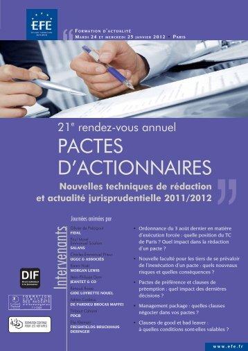 PACTES D'ACTIONNAIRES - Efe