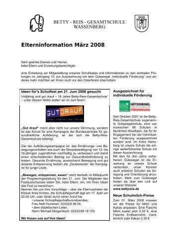 Terminübersicht Schuljahr 2003/2004, 1 - Betty-Reis-Gesamtschule