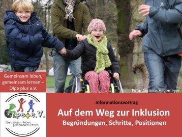 """""""Auf dem Weg zur Inklusion"""" (Informationsvortrag als PDF)"""
