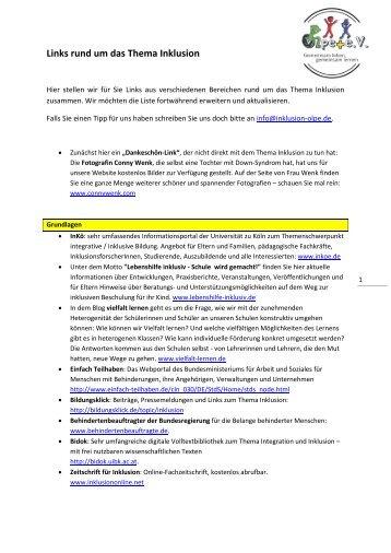 Links rund um das Thema Inklusion - Inklusion Olpe / Gemeinsam ...
