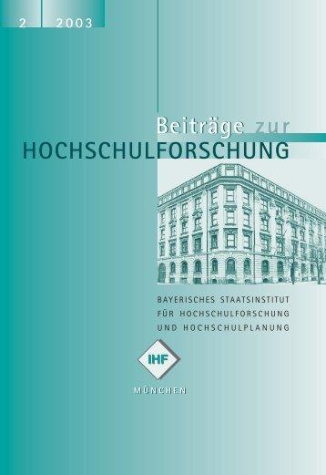 2 2003 - Bayerisches Staatsinstitut für Hochschulforschung - Bayern
