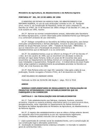 Ministério da Agricultura, do Abastecimento e da ... - CRMV-PR