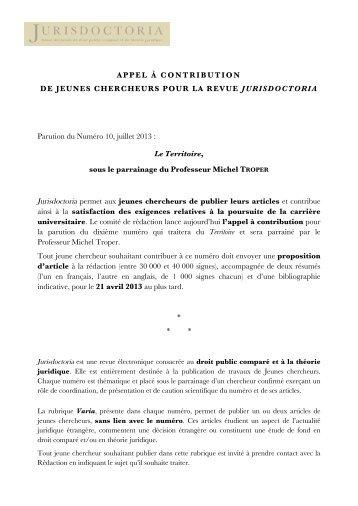 Appel à contribution n° 10-2 - Jurisdoctoria