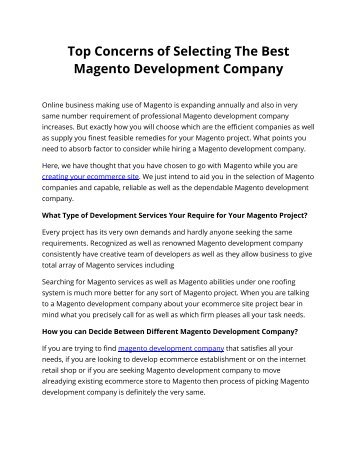 Top Concerns of Selecting The Best Magento Development Company