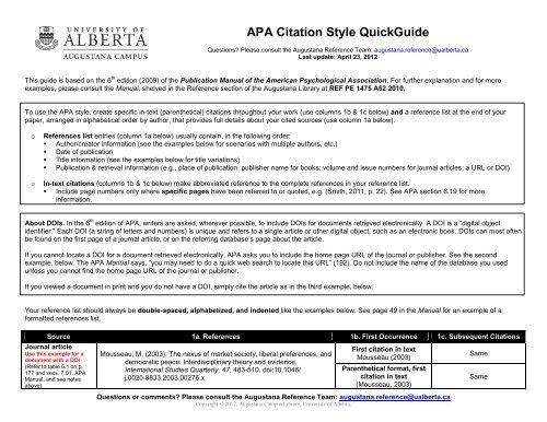 Apa Citation Style Quickguide University Of Alberta Libraries