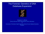 The Forensic Genetics of DNA Database Expansion