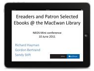 Ereaders and Patron Selected Ebooks @ the MacEwan Library