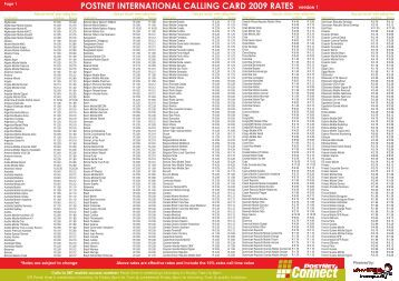 POSTNET INTERNATIONAL CALLING CARD 2009 RATES version 1