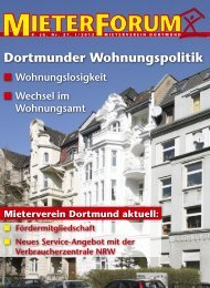 Dortmunder Wohnungspolitik - Mieterverein Dortmund und Umgebung eV