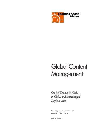 Global Content Management - Common Sense Advisory