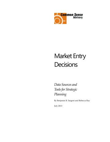 Market Entry Decisions - Common Sense Advisory