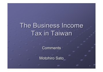 Sato-The Business Income Tax In Taiwan