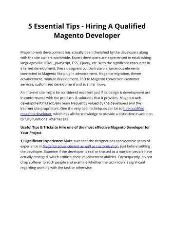 5 Essential Tips - Hiring A Qualified Magento Developer