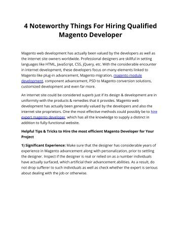 4 Noteworthy Things For Hiring Qualified Magento Developer