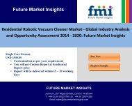 Residential Robotic Vacuum Cleaner Market - Global Industry Analysis and Opportunity Assessment 2014 - 2020: Future Market Insights