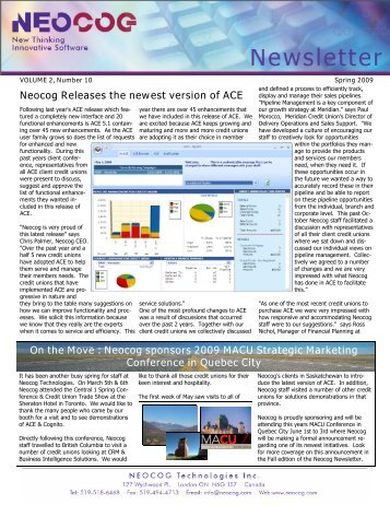 Newsletter Spring 2009 Header.pub - Neocog Technologies Inc.