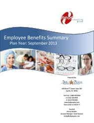 Employee Benefits Summary - Neos Consulting Group, LLC