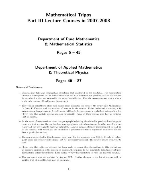 Mathematical Tripos Part III Lecture Courses in 2007-2008