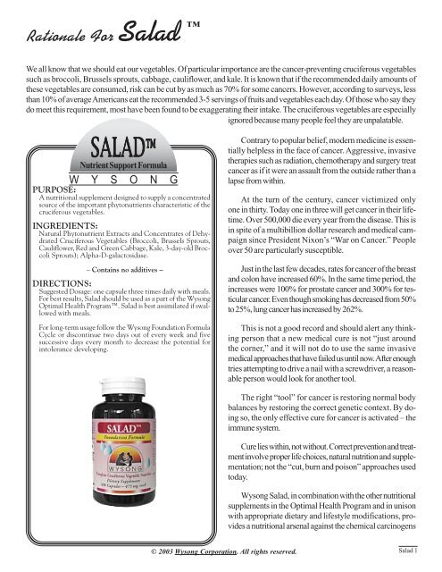 Salad Monograph - Wysong Human Health Products