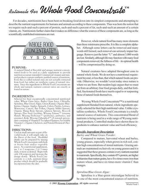 Whole Food Monograph - Wysong Human Health Products