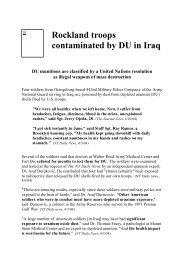 Rockland troops contaminated by DU in Iraq - Fernando TERMENTINI