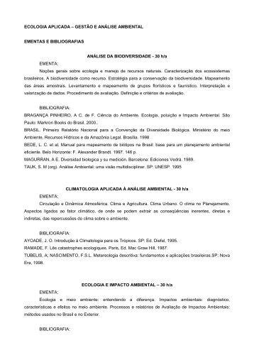 ECOLOGIA APLICADA – GESTÃO E ANÁLISE AMBIENTAL ... - UnC