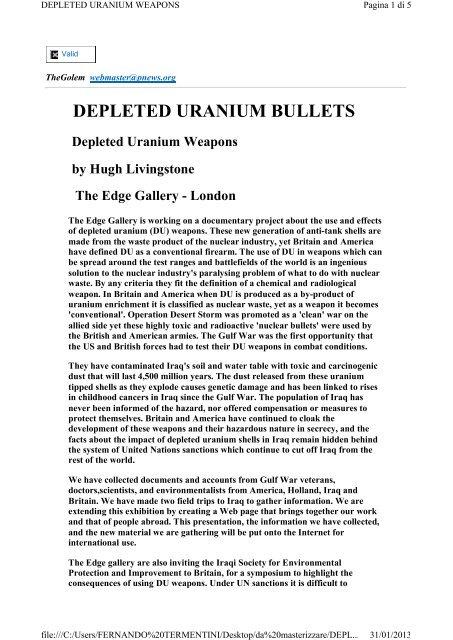 DEPLETED URANIUM BULLETS - Fernandotermentini it