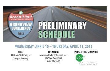 preliminary schedule preliminary schedule - Minnesota Precision ...