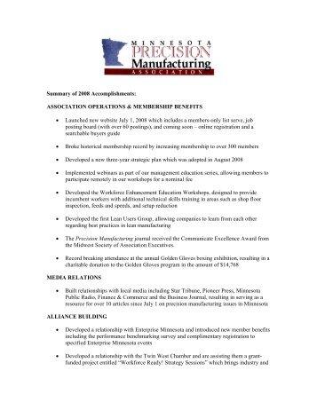 2008 Accomplishments - Minnesota Precision Manufacturing ...