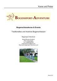 Bogenshop-Adventure Kurse und Events Preisliste